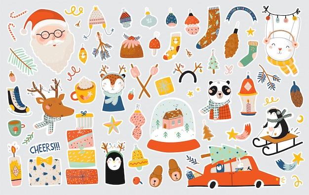 Plantilla de feliz navidad o feliz año nuevo con letras de vacaciones y elementos tradicionales de invierno. mano linda dibujada en estilo escandinavo. antecedentes.