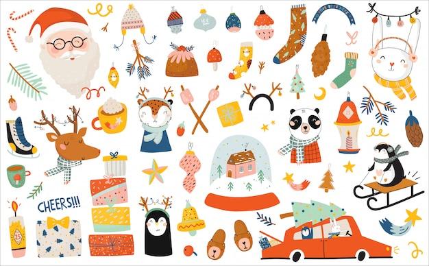 Plantilla de feliz navidad o feliz nuevo año 2021 con letras de vacaciones y elementos tradicionales de invierno.