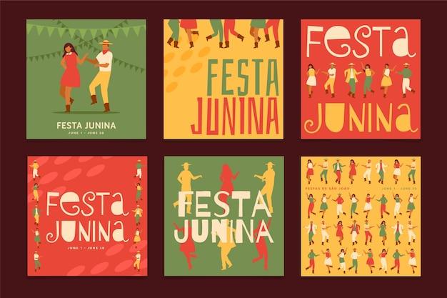 Plantilla festa junina para colección de tarjetas