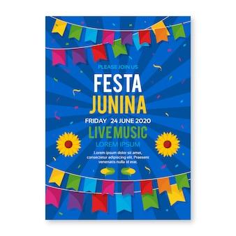 Plantilla de festa junina para diseño de flyer