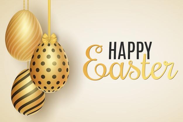 Plantilla festiva de pascua. huevos colgantes con un patrón. tarjeta de felicitación.