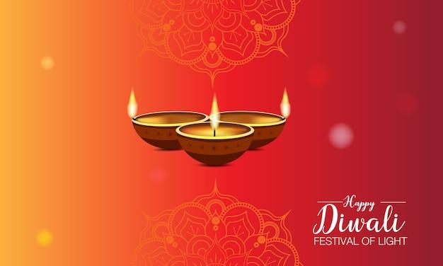 Plantilla de festival de diwali con mandala