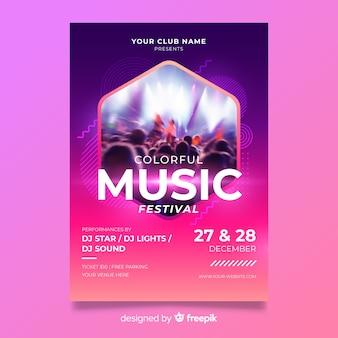 Plantilla de festival de música abstracta colorida con foto