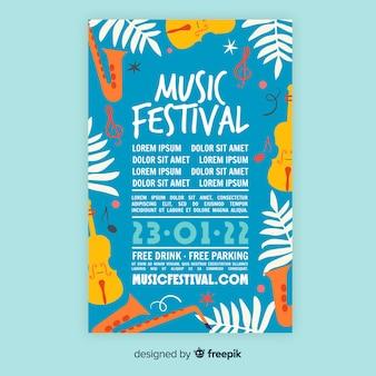 Plantilla de festival de música dibujado a mano