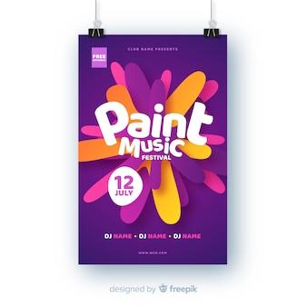 Plantilla de festival de música pintura abstracta