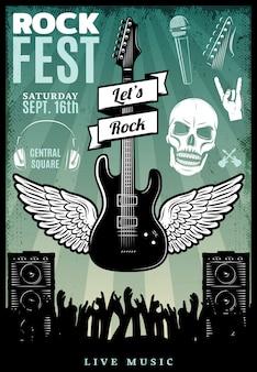 Plantilla de festival de música rock vintage