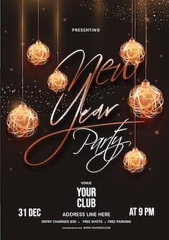 Plantilla de fiesta de año nuevo decorada con adornos colgantes con efecto de iluminación y detalles de eventos sobre fondo marrón.