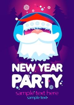 Plantilla de fiesta de año nuevo con santa como dj