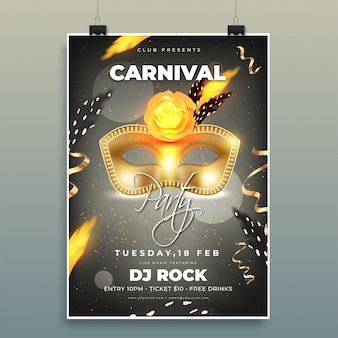 Plantilla de fiesta de carnaval o diseño de volante de baile con ilustración