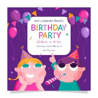 Plantilla de fiesta de cumpleaños con niños