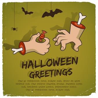 Plantilla de fiesta de halloween con dulces de brazo de zombie de texto y murciélagos en estilo de dibujos animados