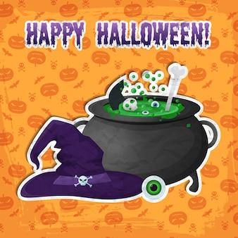 Plantilla de fiesta de halloween de saludo con inscripción ojo de sombrero de bruja y poción mágica hirviendo en pegatinas de caldero