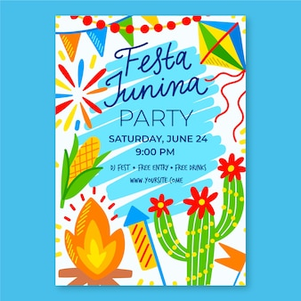 Plantilla de fiesta junina para póster