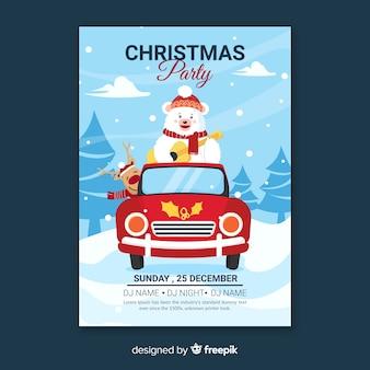 Plantilla de fiesta de navidad de diseño plano con oso polar
