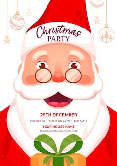 Plantilla de fiesta de navidad o volante con detalles de eventos y personajes de santa claus alegre.