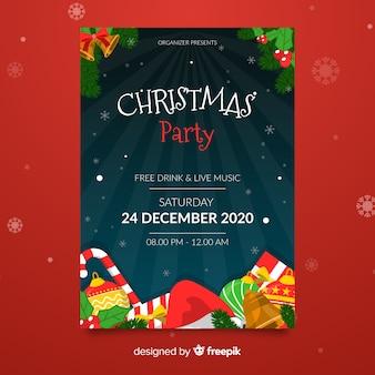 Plantilla de fiesta de navidad con regalos y bastón de caramelo