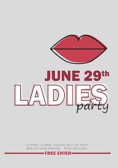 Plantilla para fiesta nocturna de damas con signo de línea - ilustración vectorial en color gris y rojo