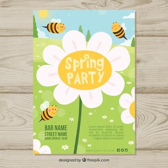Plantilla de fiesta de primavera con abejas