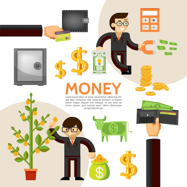 Plantilla de finanzas planas con empresario dinero seguro árbol dólar vaca billetera monedas calculadora financiera magne