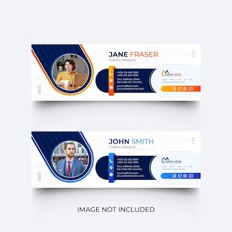 Plantilla de firma de correo electrónico moderna o plantilla de pie de página de correo electrónico y conjunto de diseño de portada de redes sociales