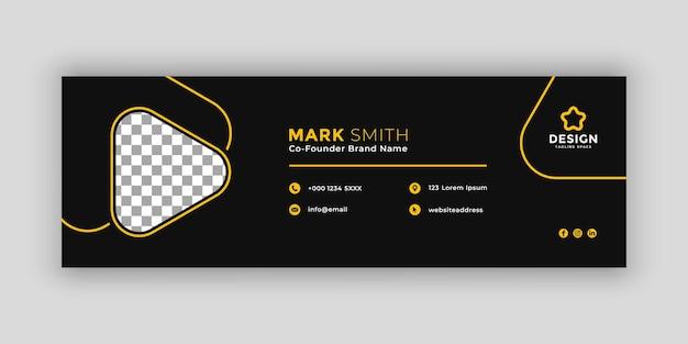 Plantilla de firma de correo electrónico oscura mínima o pie de página de correo electrónico y diseño de portada de redes sociales personales