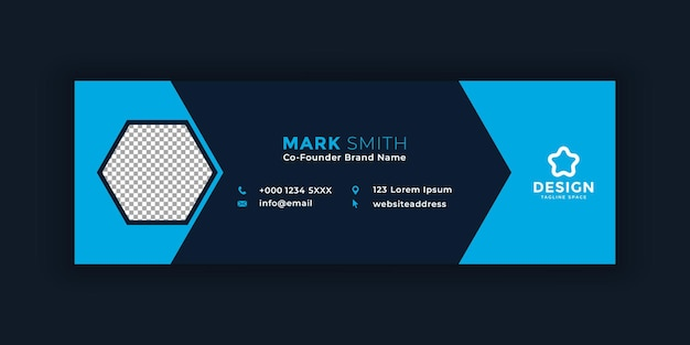 Plantilla de firma de correo electrónico personal o pie de página de correo electrónico y diseño de portada de redes sociales