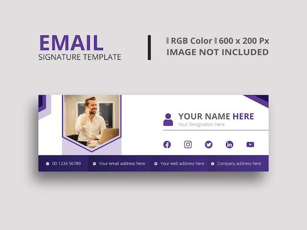 Plantilla de firma de correo electrónico púrpura