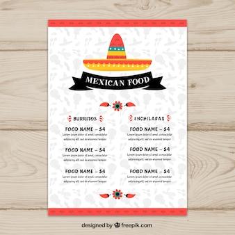Plantilla flat de menú de comida mexicana