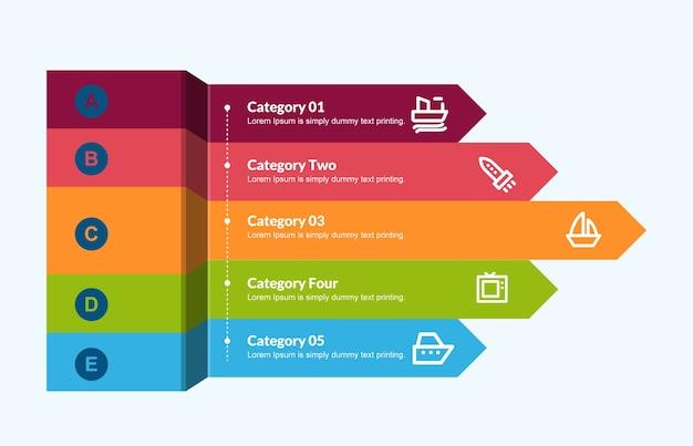 Plantilla de flechas 3d para infografía