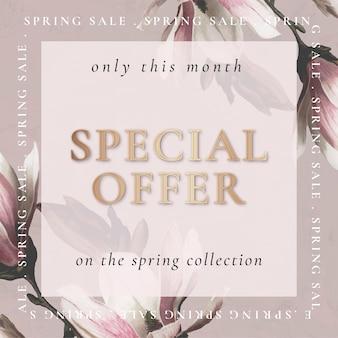 Plantilla de flor editable para venta de primavera