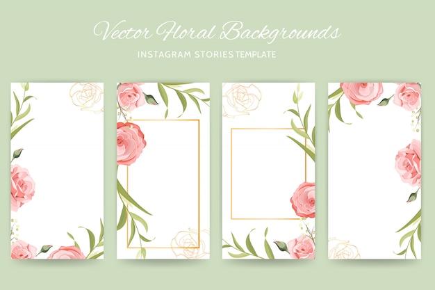 Plantilla de flor rosa de instagram