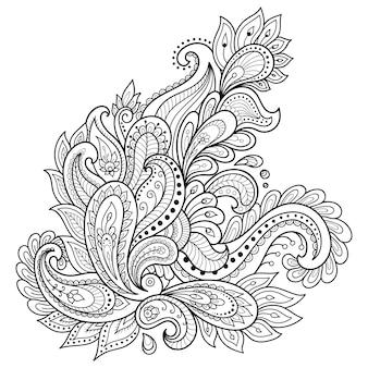 Plantilla de flor de tatuaje de henna. estilo mehndi conjunto de patrones ornamentales en el estilo oriental.
