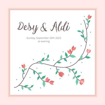 Plantilla floral de la boda del fondo del marco para la invitación