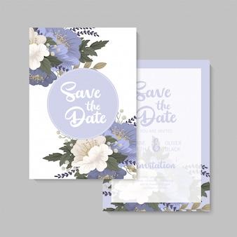 Plantilla floral de la boda tarjeta floral azul
