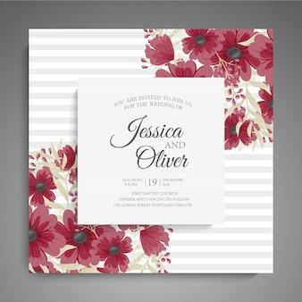 Plantilla floral de la boda tarjeta floral roja