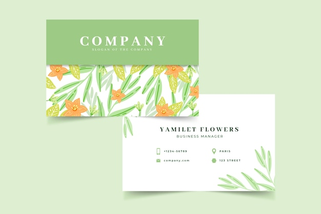 Plantilla floral colorida de la tarjeta de visita