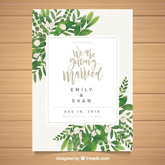 Plantilla floral de invitación de boda en acuarela