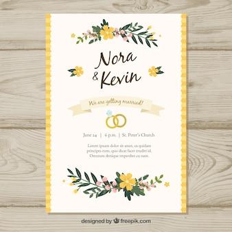 Plantilla floral de invitación de boda