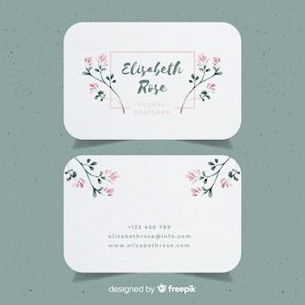 Plantilla floral de tarjeta de negocios en acuarela