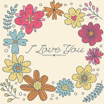 Plantilla floral dibujada a mano con mensaje de amor