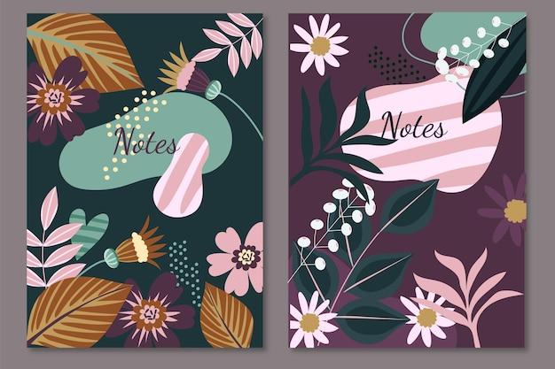 Plantilla floral de diseño de notas