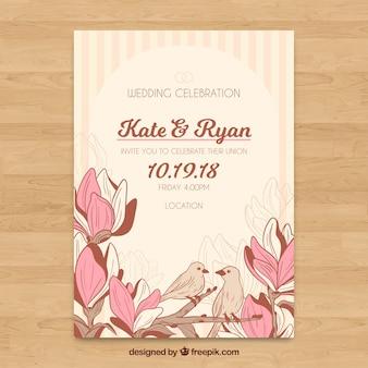 Plantilla floral de invitación de boda con estilo vintage
