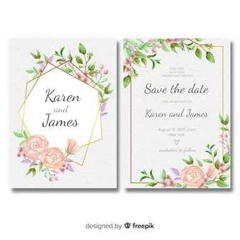 Plantilla floral de invitación de boda con marco dorado