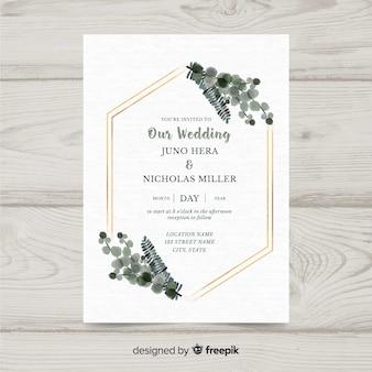 Plantilla floral de invitación de boda con marco elegante dorado