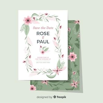 Plantilla floral de la invitación de la boda del marco