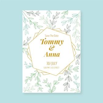 Plantilla floral para invitación de boda