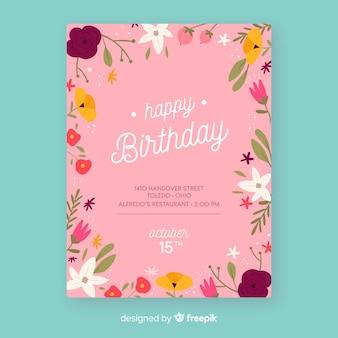 Plantilla floral de invitación de cumpleaños