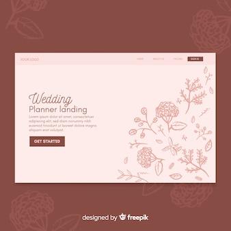 Plantilla floral de landing page de bodas