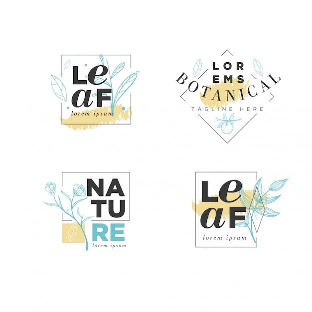 Plantilla floral del logotipo del marco botánico