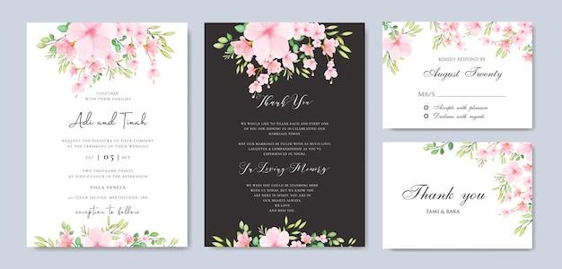 Plantilla floral del marco de la flor de cerezo de la boda